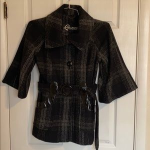 Guess plaid pea coat with tie and bell sleeves